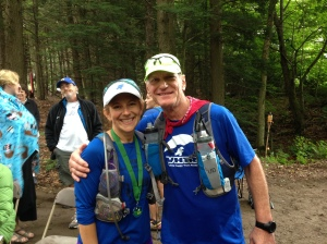 At the finish line of the Vermont 100 with Bob
