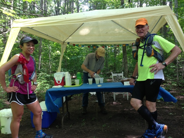The fizzy fruity drink man aid station on the fire road leaving Old Rag